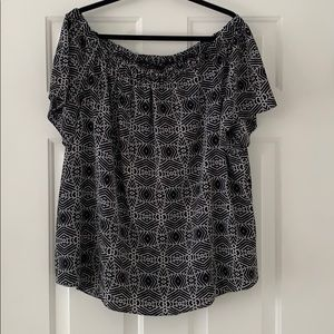 Black and white pattern off the shoulder blouse